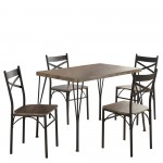Tiago 5Pk Dining Set in Rustic Oak by Worldwide Homefurnishings Inc