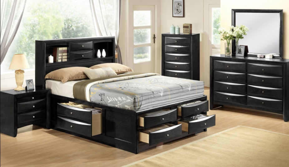 Felicia - 6Pc King Bedroom Set with Storage in Black by ...