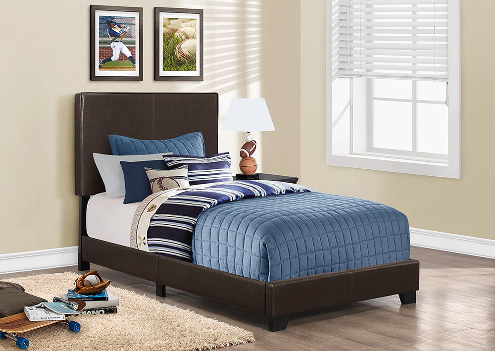 I 5910t Bed Frame Twin Size Dark Brown Leather Look