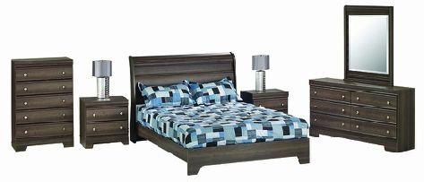 444 Series Fairview Queen Bedroom Suite In Dark Grey