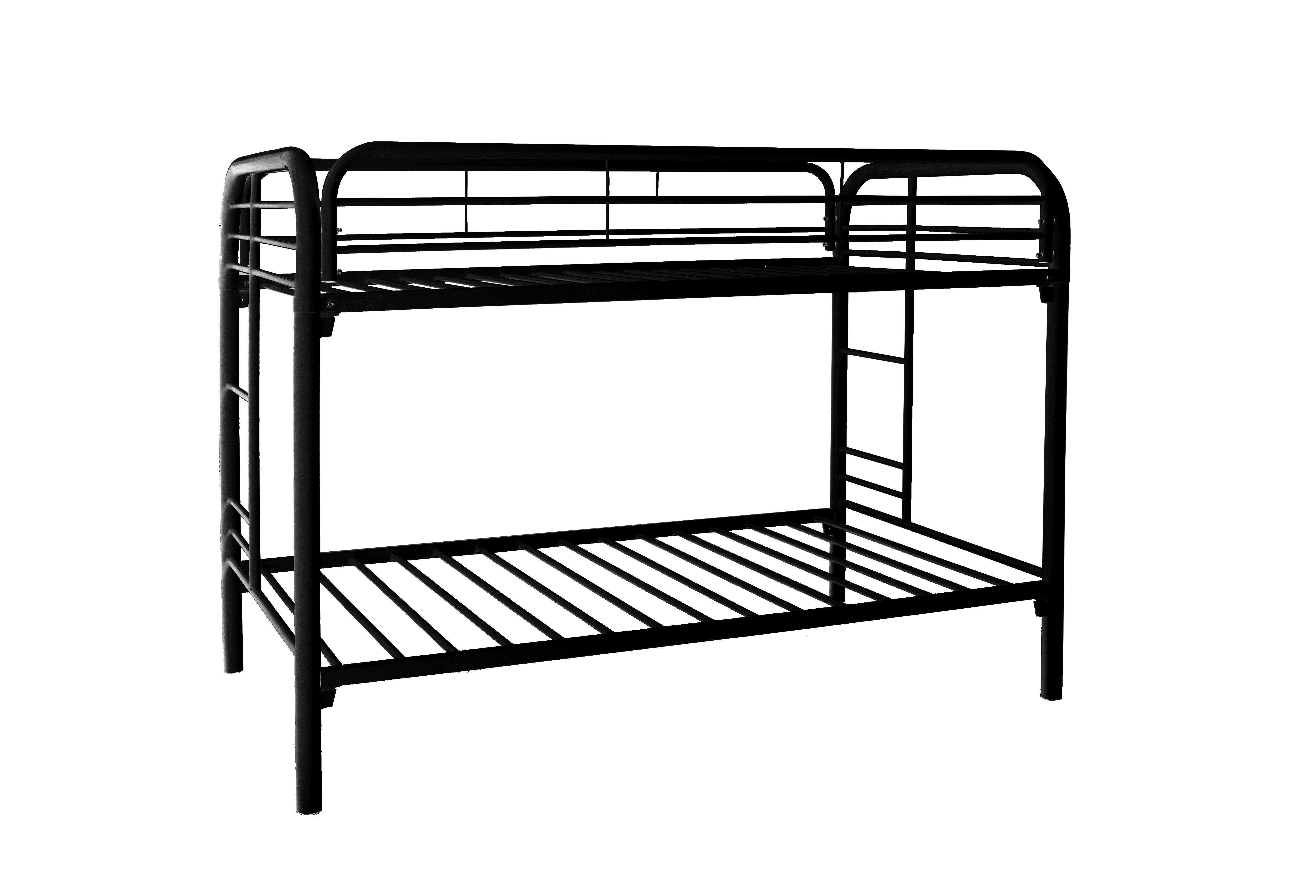 Black metal twin twin bunk bed frame for Black twin bed frame