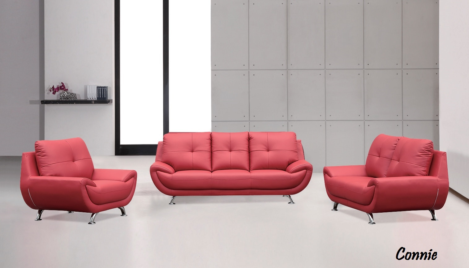 Connie 3pc Sofa Loveseat And Chair In Red Brand New