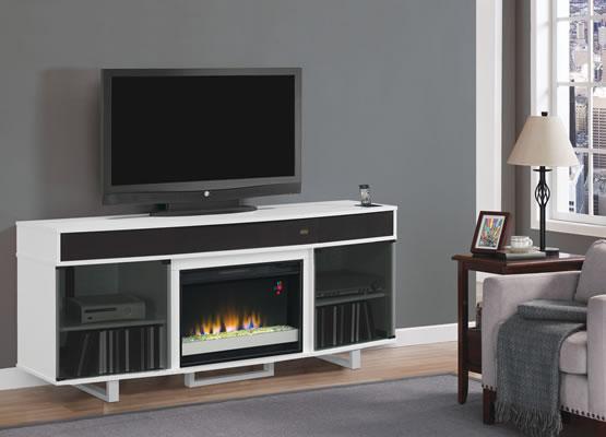 ENTERPRISE ELECTRIC FIREPLACE ENTERTAINMENT UNIT IN WHITE ...