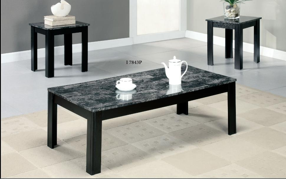 Grey Marble Black 3pcs Promotional Table Set Winnipeg Furniture Store Sale Sales Living Room