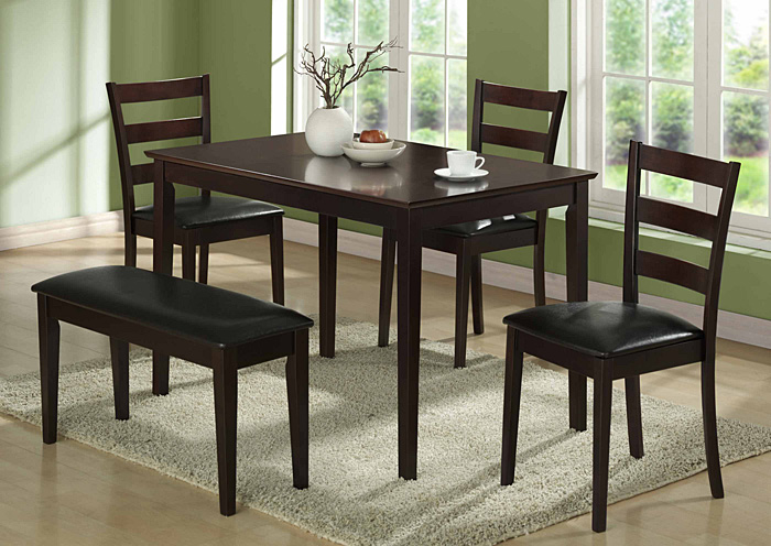 I 1211 Cappuccino 5pcs Dining Set With A Bench And 3