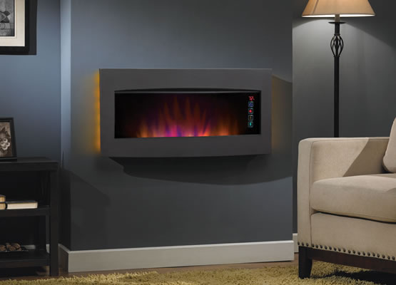 ClassicFlame 33-Inch Serendipity Matte Black Wall Hanging Electric Fireplace