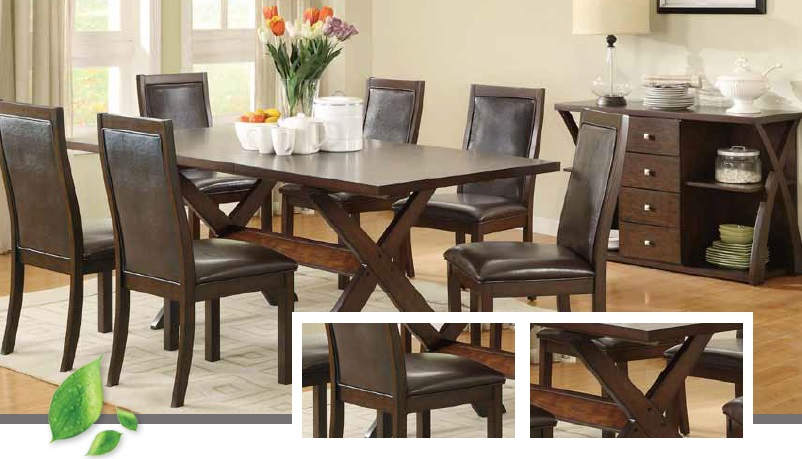 WHITESANDS WOODEN RECTANGULAR DINING TABLE 6 CHAIRS