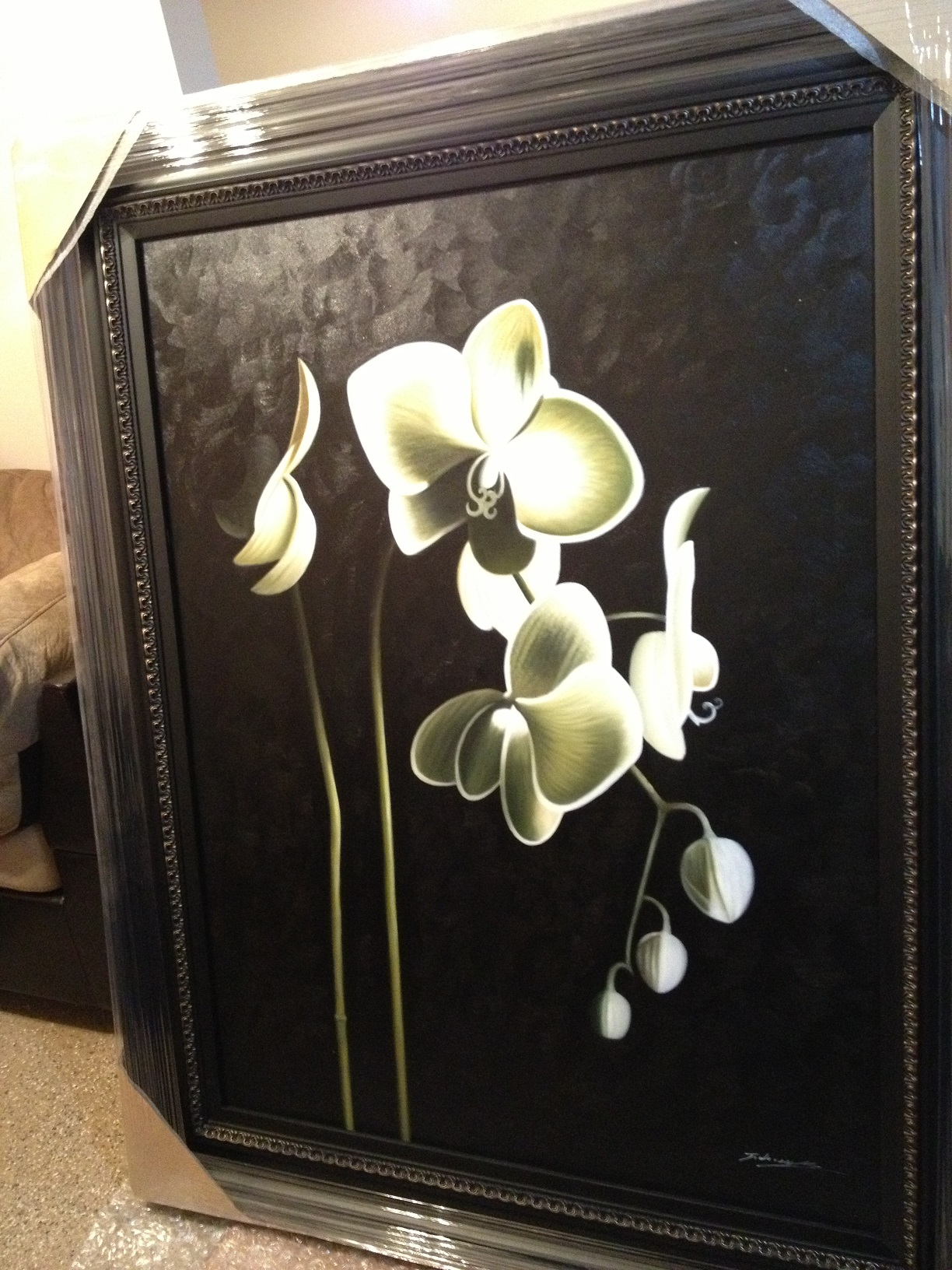 OIL PAINTING WITH FRAME - WHITE FLOWERS