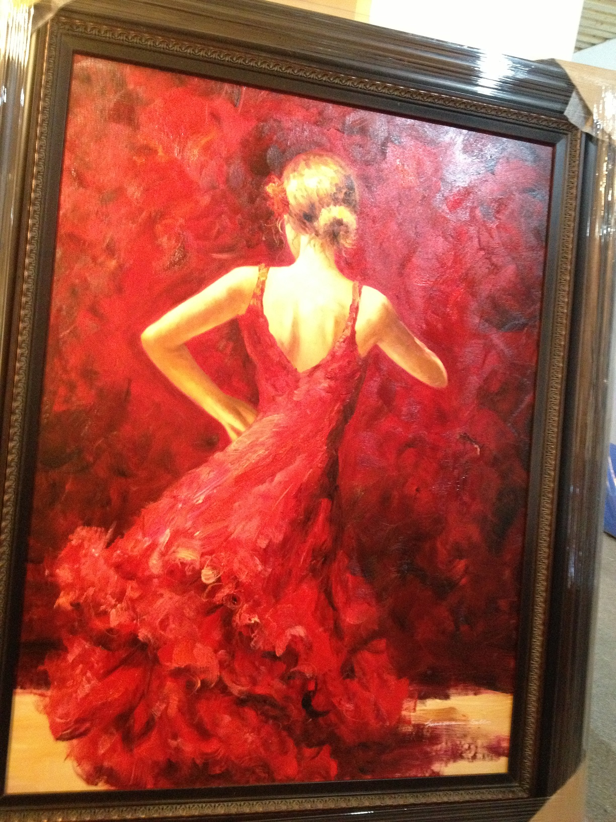 OIL PAINTING WITH FRAME - LADY IN A RED DRESS