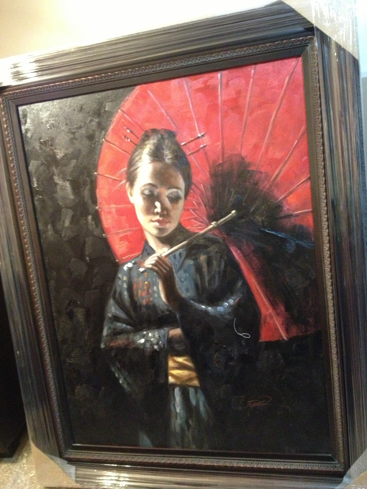 OIL PAINTING WITH FRAME - LADY WITH UMBRELLA