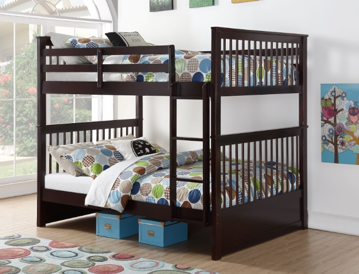 Sonya Wooden Double Double Bunk Bed Frame Espresso