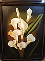 OIL PAINTING WITH FRAME - LILLIES WITH BUTTERFLIES