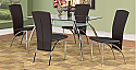 IF-5052 - 5 PC Dinette Set - 10mm Tempered Glass Table  4 Chairs