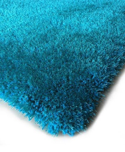 Shaggy viscose solid turquoise - Tapis shaggy turquoise ...