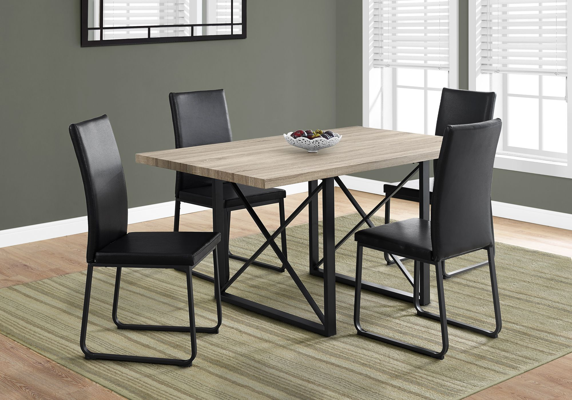 I 1100 dining table only 36 x 60 dark taupe black metal - Table cuisine moderne ...