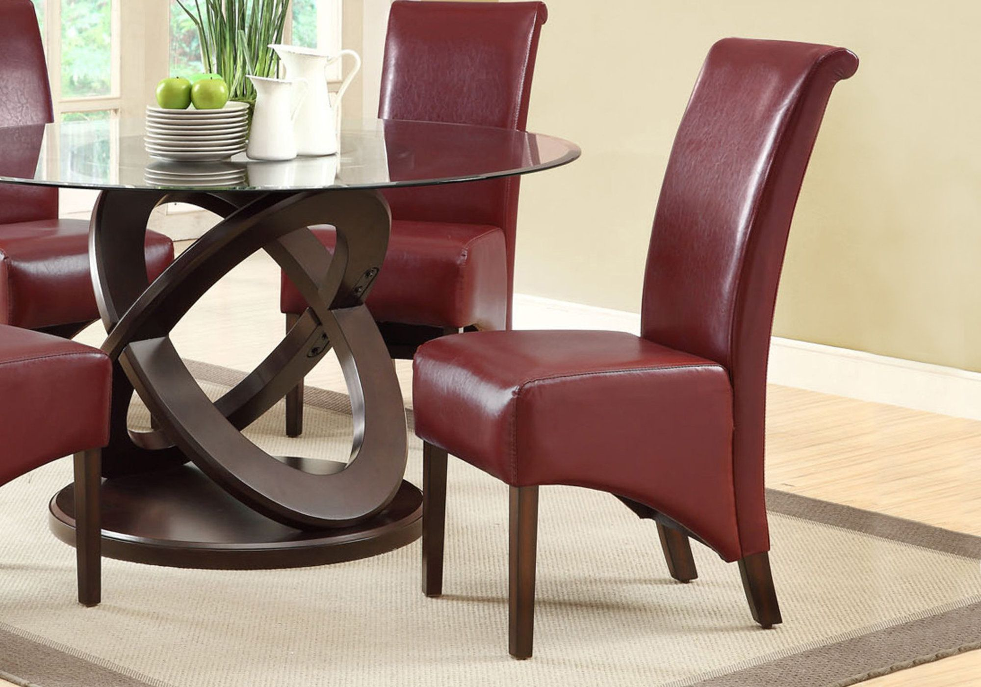 I 1778by Dining Chair 40 Quot H Burgundy Leather Look