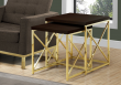 I 3237 - NESTING TABLE - 2PCS SET / CAPPUCCINO / GOLD METAL BY MONARCH SPECIALTIES INC