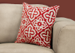 "I 9222 - PILLOW - 18""X 18"" / RED MOTIF DESIGN / 1PC"