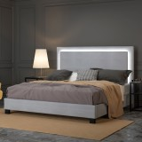 "Lumina 78"" King Platform Bed with Light in Grey by Worldwide Home Furnishings Inc"