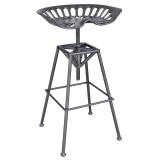 Tractor Adjustable Stool in Gunmetal by Worldwide Homefurnishings Inc