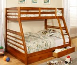T-2700 - Twin / Double Bunk Bed in Honey with Drawers by Titus Furniture