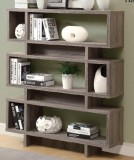 "I 3251 - DARK TAUPE RECLAIMED-LOOK 55""H MODERN BOOKCASE"