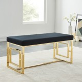 Eros Double Bench in Gold and Black by Worldwide Homefurnishings