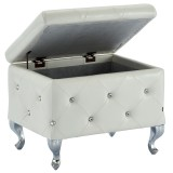 Monique Single Storage Ottoman in White by Worldwide Homefurnishings Inc