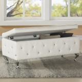 Monique Storage Ottoman in White by Worldwide Home Furnishings
