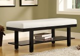 "I 4526 - Black Solid Wood / White Leather-Look 48""L Bench"