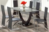 IF - 5067 - 7 PC Dining Set - 8mm Tempered Glass Table & 6 Chairs