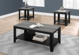 I 7992P - TABLE SET - 3PCS SET / BLACK / GREY TOP by Monarch Specialties