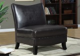 I 8046 - DARK BROWN LEATHER - LOOK ACCENT CHAIR