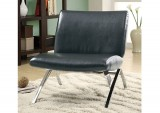 I 8073 - ACCENT CHAIR – BLACK LEATHER-LOOK / CHROME METAL