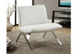 I 8074 - WHITE LEATHER - LOOK / CHROME METAL MODERN ACCENT CHAIR