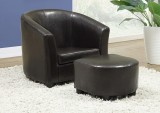 I 8103 - DARK BROWN LEATHER - LOOK JUVENILE CHAIR / OTTOMAN 2 PCS SET
