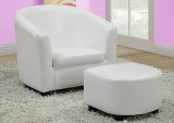 I 8104 - WHITE LEATHER - LOOK JUVENILE CHAIR & OTTOMAN / 2 PCS SET