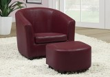 I 8105 - RED LEATHER - LOOK JUVENILE CHAIR & OTTOMAN / 2 PCS SET