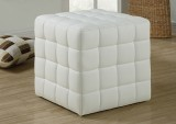 I 8978 - WHITE LEATHER LOOK OTTOMAN