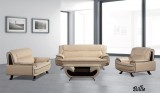 BILLIE - 3PCS SOFA, LOVESEAT & CHAIR IN BEIGE AND BROWN LEATHER GEL