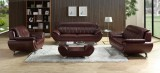 BROOK - 3 PC SOFA, LOVESEAT & CHAIR IN WINE LEATHER GEL