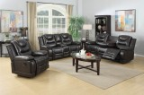 COCO - 3PCS RECLINER SET IN BLACK OR BROWN - LEATHER GEL