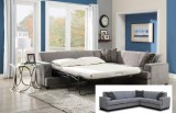 CAMERON SECTIONAL WITH PULL OUT BED IN GREY FABRIC