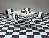 Classic Black/White Tuck & Roll Style Chairs