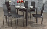 CONTRA - 7PCS MODERN GLASS DINING TABLE SET WITH FAUX LEATHER CHAIRS