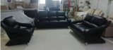 Mia - 3Pc Sofa Set - Sofa, Loveseat and Chair in Black Microfibre Leather