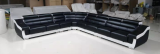 LEONA MICROFIBRE LEATHER MATCH SECTIONAL IN BLACK AND WHITE