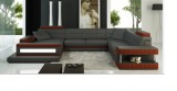 Aura - Sectional in Microfibre Leather Grey and Rust