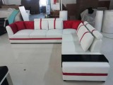 ALEXIA - SECTIONAL IN WHITE & RED MICROFIBRE LEATHER