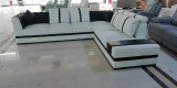 Alexia - Sectional in Black and White Microfibre Leather